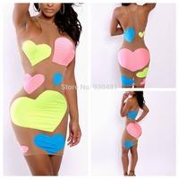 new arrival women mesh dress mini sleeveless bodycon dress colorful heart pattern bandage dress for women evening party clubwear