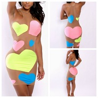 new arrival women mesh dress mini sleeveless bodycon dress colorful heart pattern bandage dress for women evening party clubwear