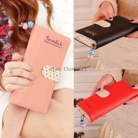 New Fashion Polka Dot Long Clutch Leather Women Wallet Lady Card Purse Holder Bag Multicolors