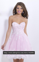 HL-PD960 Gorgeous Sweetheart Pink with Silver Lace Appliqes Beading Short Homecoming Dresses Party Dress 2014