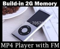 Wholesale - - portable mp4 player slim mp3 mp4 music player 1.8'' TFT screen FM radio + earphone+ usb cable +box 30pcs/lot