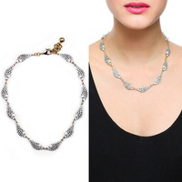 JC100 2014 New Women Fashion Design Winged Glories Collar Sliver&Crystal Pearl Embellish Choker Collar For Women Simply Elegant