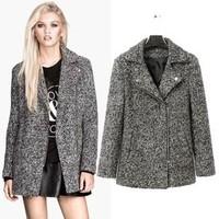 2014 New arrival Ladies' elegant gray woolen jacket coat long sleeve zipper pockets outwear casual slim brand designer coats