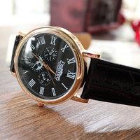 On Sale Special offer Men Fashion Casual Watch Leather Strap Quartz Wristwatch Alloy shape 3 Colors Shock Resistant  Analog
