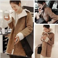 2014 winter new Korean thickened padded jacket Womens double breasted suede long sections of cotton