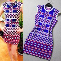 2014 Fashion Sleeveless Mini Dress party women's cute dress Sexy Floral Print dress,Block Stretchy Bow Bodycon Free shipping