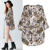 2014 New arrival Ladies' vintage floral print Kimono outerwear loose cape elegant non-button coat cardigan casual brand tops
