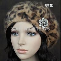 Free Shipping 2014  Autumn Winter Exquisite diamond pearl flower leopard angora blend beret millinery Fashion Plaid ladies' hat
