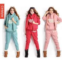 Ctrlstyle Blusinhas Femininas 3 pcs Hooded Vest Hoodie Pants Sport Suit Women Sportswear Tracksuit+Free Shipping