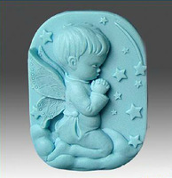 New Soap Mold Baby Chocolate Decorated Angel Rose Fondant 3D Candle Mold Salt Sculpture Silicone Cake Mold Bakeware Cooking Tool