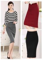 New fashion spring autumn winter cotton blend  plus size high waist sexy open fork casual midi skirt women skirts female 2014