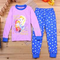2014 Frozen kids pajamas set/Princess Elsa & Anna printed children pajamas/Long-sleeved stars girls clothing set