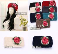 Free Shipping, new Women knitted headband girls flower crochet headbands elastic Headwrap Winter Ear Warmer,10 pcs/lot