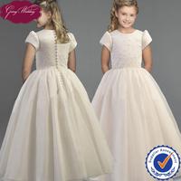 Goingwedding Short Sleeves Floor Length Satin Top Organza Skirt Cinderella Flower Girl Dresses HT086