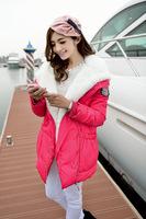 2014 new winter jacket long Korean large fur collar jacket coat factory direct