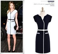 New 2014 women Elegant Celebrity Brand Plus Size S-XL Sleeveless Knee-Length Casual Bodycon Formal career Dress Free shipping