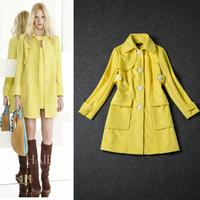 Free Shipping Winter 2014  Simple Yellow  Wool Coat  140919XB04