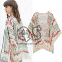 2014 fashion women Spain style chiffon kimono blouse cardigan tassel Floral print mujer ropa camisas femininas blusas gasa Q120
