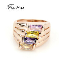 Big Anelli18K Rose Gold Ring Women Jewelry Punk Rock Colorful Imitation Crystal Finger Rings for Women