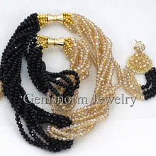 Classic Black Gold Dubai Bridal Jewelry Set Twisted African Crystal Beads Costume Jewelry Set Chunky Free