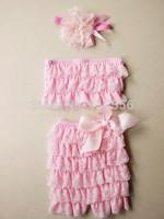 pink bikini romper lace&satin swim suit girl swin suits LACE FLOWER HEADBAND  3-Pieces