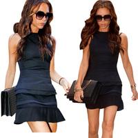 Summer Dress 2014 New Hot Sale Sleeveless Women Dress Bodycon Ruffles Hem Black Cacual Dress Sexy Party Dresses