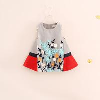 free shipping!children girl autumn flower wool melton dress