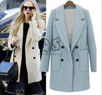 2014 Winter Autumn Woolen Solid Long Length Turn-doen Collar Double Breasted Women Wool Coat X365