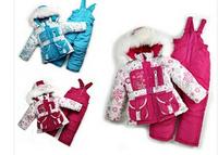 2014 New Children's Winter Clothing Set baby girl Ski Suit Windproof Flower Warm Coats Fur Jackets+Bib Pants+Wool Vest 3 Colors