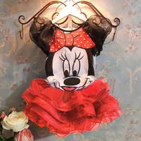 2014 baby girls clothing set/Minnie Mouse summer children suit for toddler girl/Cute cartoon t-shirt+tutu skirt clothing set