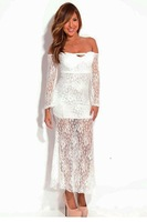 White Strapless Lace Maxi Dress LC6712
