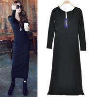 2014 Autumn V-neck Plus Size Slim Cotton Women Dresses Fashion Long Sleeve Solid Knitted Vestidos Femininos 3917