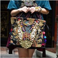 Original design chinese nation style exotic Sequin embroidery elephant pompon Shoulder Bag Messenger Bag women handbag