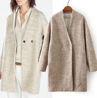2014 Women coat winter New fashion women clothing  European Pure Modern Cashmere coat OL woolen overcoat Women Outwear WC057