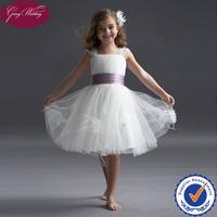 Goingwedding Cap Sleeve Knee Length Little Princess Tulle Puffy Flower Girl Dress With Satin Sashes HT090
