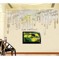 Wholesale 100pcs 2x2 Silver 3D Self Adhensive Wall Sticker Decals Mosaic Mirror Living Sofa Room Decoration