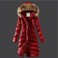 Winter Down Jackets 2014 High Quality Brand Women Warm Slim Large Fur Collar Goose Down Parkas Black Lady Long Down Coats