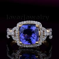 2014 New Solid 14K YELLOW GOLD NATURAL STUNNING TANZANITE DIAMOND WEDDING RING G090458