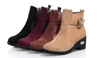 Autumn and Winter Boots Women Leather Shoes Wedges Fashion Round Toe Martin Boots Warm British Style Ankle Boots Platform