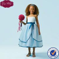 Goingwedding Spaghetti Straps Organza Beautiful Flower Girl Dresses Royal Blue With Satin Sashes HT097