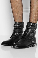 Free Shipping Luxury Brand Genuine leather Cool Rivet Boots size 34-40