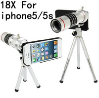 18x metal Zoom Optical Lens Phone Telescope Camera For Mobile Phone Iphone 5 5s Cellphone Holder,1pcs free shipping