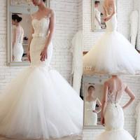 Best Selling Elegant Design Jewel Appliqued Lace Sheer Back Mermaid Wedding Bridal Dresses