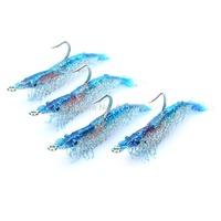 Lifelike Shrimp Style Fishing Bait with Hook - Blue (4-Piece) For Free Shipping 122201