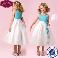 Goingwedding Little Queen Flower Girl Dress Of 9 Years Old Sky Blue Top Ivory Skirt Flower Girl Dresses For Wedding HT100