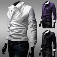2014 new man hoody casual slim hoodies  men's  sports suit  big turn down collar 3 color  multi  zipper coat free shipping