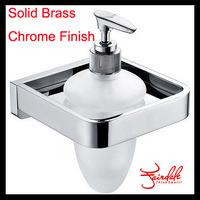 Free Shipping-Retail- Luxury Brass Liquid Soap Dispenser, Brass Holder with Glass Bottle Dispenser, Wall Mounted