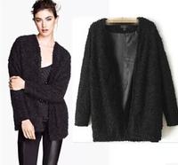 2014 Women coat winter New women winter clothing European loose casual overcoat Lamb wool cadigan outer OL wool overcoat WC061
