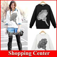 Freeshipping 2014 Fashion Autumn Women's Cotton Long Sleeve Casual Flower Print Hoodies Pullover Sweatershirt dropshipping
