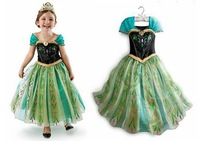 New 2014 frozen dress for girl, vestidos de menina, anna summer dress 2014 Free Shipping